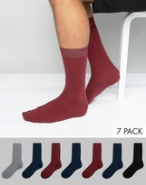 Asos Socks In Burgundy & Navy 7 Pack