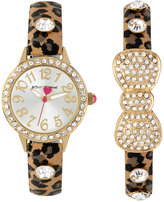 Betsey Johnson Women's Brown Leopard Printed Imitation Leather Strap Watch & Bangle Bracelet Set 30mm BJ00536-39