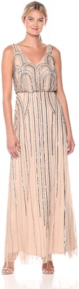 Adrianna Papell Women's Beaded V-Neck Blouson Gown