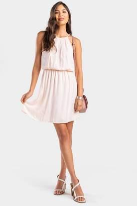francesca's Gennie Textured Flawless Dress - Blush