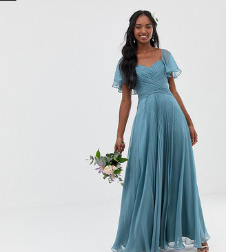 Asos Tall DESIGN Tall Bridesmaid pleated bodice maxi dress with flutter sleeve-Blue
