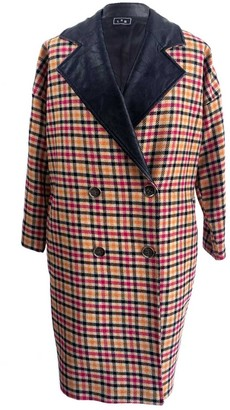 L2r The Label Oversized Cocoon Coat In Multicolor Tweed Wool
