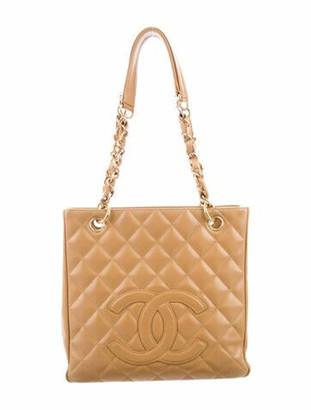 Chanel Caviar Petit Timeless Shopping Tote Beige