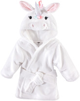 Hudson Baby Girls' Bath Robes Rainbow - Rainbow Unicorn Plush Hooded Bathrobe - Newborn