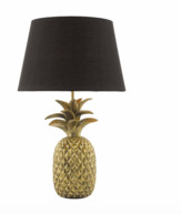Där Lighting Dar Lighting - Gold C/W Black Cotton Shade Safa Table Lamp - Gold/Black