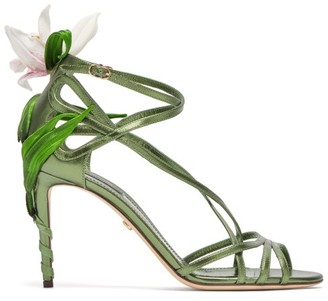 Dolce & Gabbana Kiera Lily-applique Metallic-leather Sandals - Womens - Green