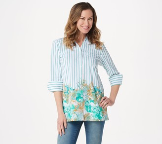 Denim & Co. 3/4-Sleeve Button Front Tunic with Border Print