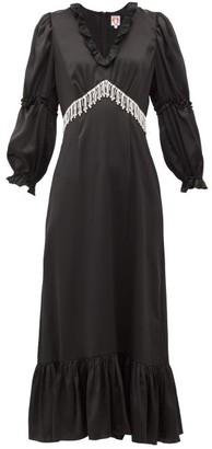Shrimps Rosemary Crystal-fringe Satin Midi Dress - Womens - Black
