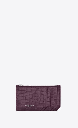 Saint Laurent Paris Slg Fragments Zippered Card Case In Shiny Crocodile-embossed Leather Prunia Onesize