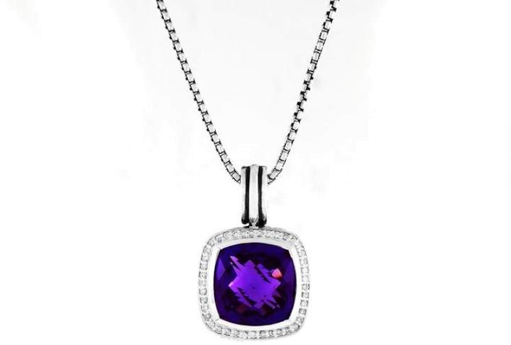 David Yurman Sterling Silver Amethyst Diamonds Albion Pendant Necklace