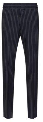 HUGO BOSS Extra Slim Fit Pinstripe Pants In Stretch Virgin Wool - Dark Blue