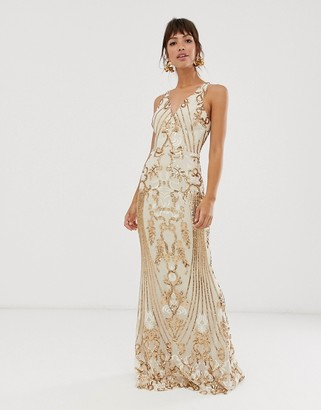 Bariano embellished patterned sequin strappy back maxi dress in gold
