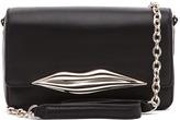 Diane von Furstenberg Mini Flirty Leather Crossbody in Black