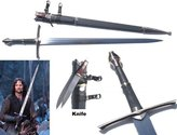 """AIT S0130 Lord of the Rings Ranger Aragorn Sword of Strider w/ Scabbard Knife 52"""""""