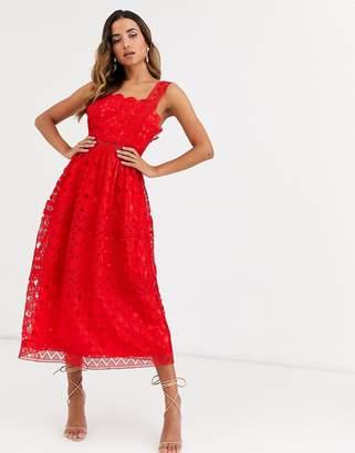 Asos Design DESIGN broderie cami midi prom dress-Red