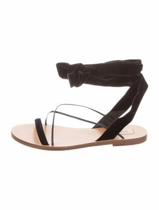 Valentino Velvet Wrap-Around Sandals Black