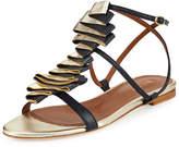 Malone Souliers Audrey Ribbon Leather Flat Sandal, Navy