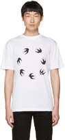 McQ by Alexander McQueen White Dropped Shoulder Swallow T-Shirt