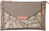 Dune Engellie removable snake-embossed pouch clutch bag