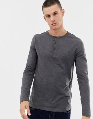 Asos Design DESIGN long sleeve t-shirt with grandad neck in gray