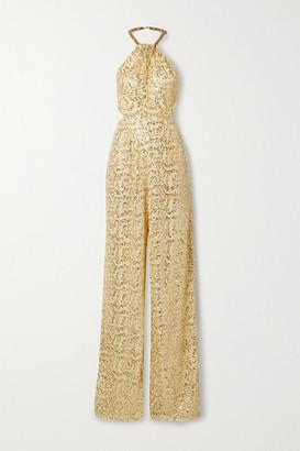 Dundas Embellished Crochet And Silk-georgette Halterneck Jumpsuit - Cream