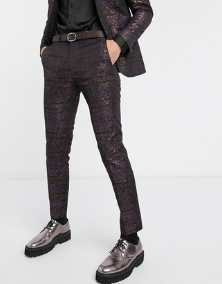 Topman skinny suit trousers with floral print