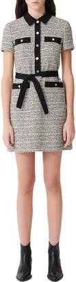 Maje Renala Short Sleeve Tweed Cotton Blend Dress