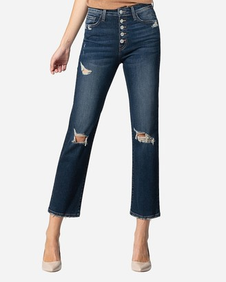 Express Flying Monkey High Waisted Distressed Button Fly Straight Cropped Jeans