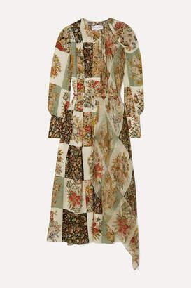 Oscar de la Renta Draped Printed Silk-chiffon Midi Dress - Ecru