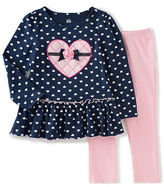 Kids Headquarters Baby Girls Two-Piece Hearts Tunic and Solid Leggings Set