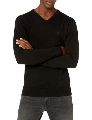 DKNY Men's Solid Long Sleeve Cotton V-Neck Sweater