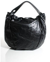 Jil Sander Black Leather Pleated Detail Double Strap Large Hobo Handbag