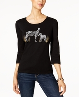 Karen Scott Petite Cotton Zebra Graphic Top, Created for Macy's