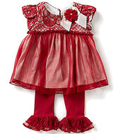 Bonnie Jean Bonnie Baby Baby Girls Newborn-24 Months Foiled-Knit Lace/Mesh-Overlay Dress and Ruffle-Hem Leggings Set