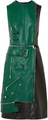 Alexander McQueen Layered Zip-detailed Two-tone Leather Dress