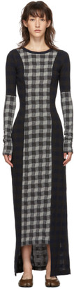 Maison Margiela Navy and Grey Wool Check Patchwork Dress