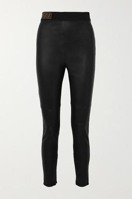 Fendi Intarsia-trimmed Leather Skinny Pants - Black