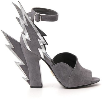 Prada Thunderbolt Detail Ankle Strap Sandals