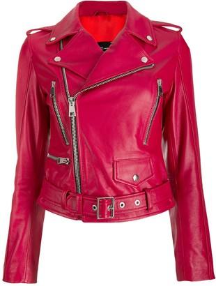 Manokhi Leather Biker Jacket