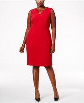 Nine West Plus Size Taylor Beaded-Trim Keyhole Sheath Dress