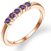 Gem Stone King 0.30 Ct Round Amethyst 18K Rose Gold Five Stone Anniversary Wedding Band