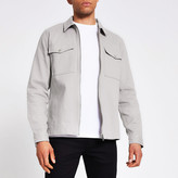 River Island Grey zip front long sleeve overshirt