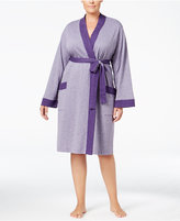 Charter Club Plus Size Contrast-Trimmed Double-Knit Wrap Robe, Only at Macy's
