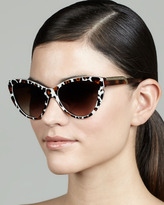 Stella McCartney Leopard-Print Cat-Eye Sunglasses, Brown