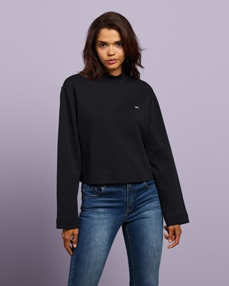 Tommy Jeans Women's Black Sweats - Solid Hybrid LS Top - Size XS at The Iconic