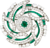 Diamond & Emerald Brooch