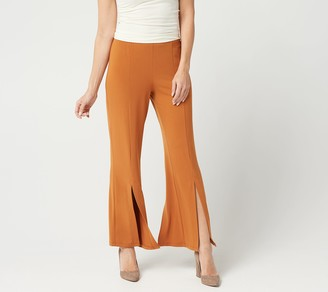 Susan Graver Regular Liquid Knit Pull-On Pants with Slit Detail
