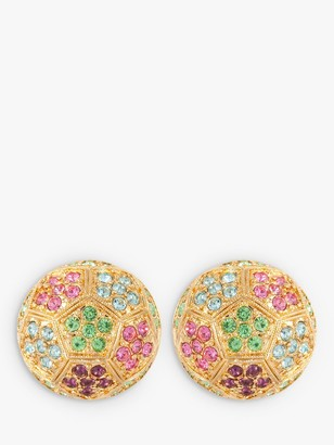 Susan Caplan Vintage D'Orlan 22ct Gold Plated Swarovski Crystal Sculpted Round Clip-On Earrings, Gold/Multi