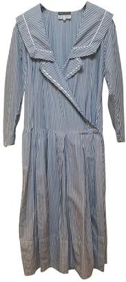 Emmanuelle Khanh Blue Cotton Dress for Women Vintage