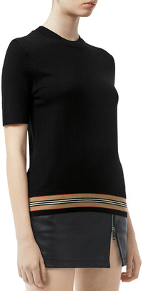 Burberry Kasai Short-Sleeve Sweater with Knit Trim